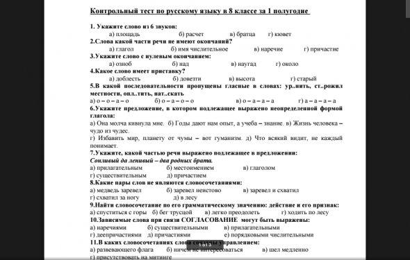 Контрольный тест по русскому